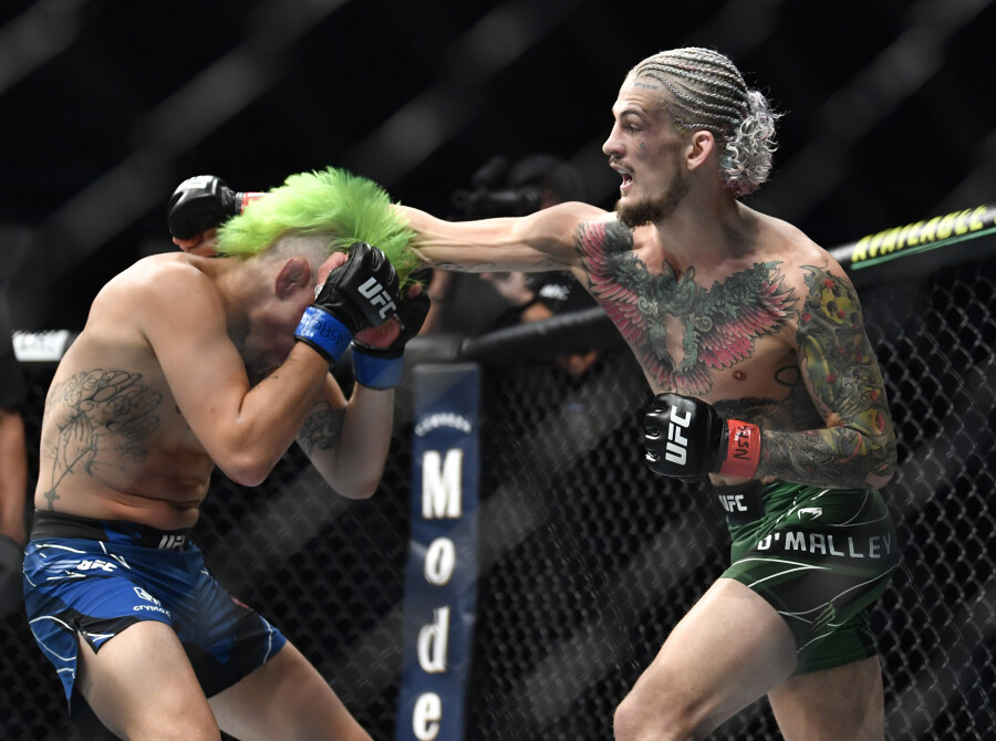 Sean O'Malley fights Kris Moutinho during the UFC 264 event at T-Mobile Arena on July 10, 2021 in Las Vegas, Nevada.