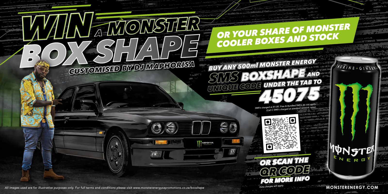 Win a Box Shape BMW customised by DJ Maphorisa with Monster Energy