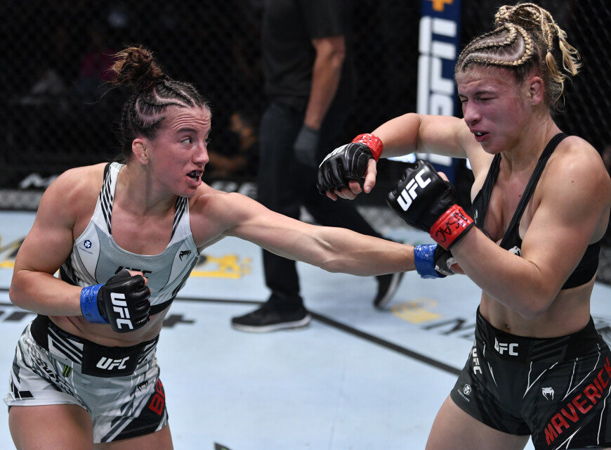 Maycee Barber battles Miranda Maverick in their flyweight fight during the UFC Fight Night event at UFC APEX on July 24, 2021 in Las Vegas, Nevada.
