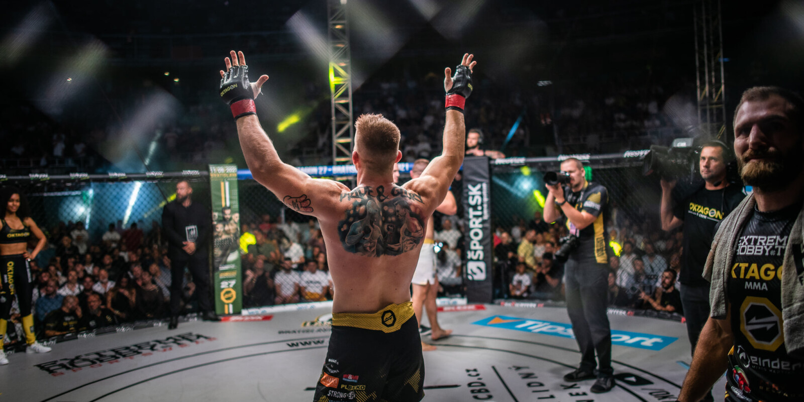 Monster sponsored MMA Tournament Oktagon 26 taking place in Prague,, Czech Republic including public weightin and afterparty concerts