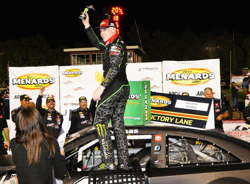 Images of Ty GIbbs win at the ARCA Menards Series in Winchester, Indiana
