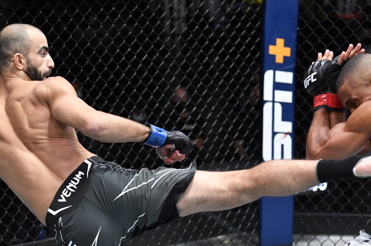 Giga Chikadze of Georgia reacts after his knockout victory over Edson Barboza of Brazil in a featherweight fight during the UFC Fight Night event at UFC APEX on August 28, 2021 in Las Vegas, Nevada.