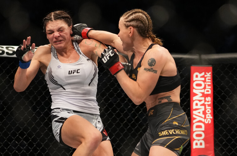 Images of Valentina Shevchenko of Kyrgyzstan during the UFC 266 event on September 25, 2021 in Las Vegas, Nevada.